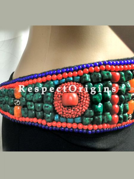 Traditional Ladakhi Vintage Pendant Red Beaded Belt