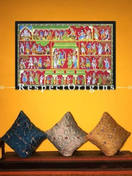 Cheriyal Painting of The Epic Ramayana; Folk Art Horizontal Painting in 30X45 inches; Traditional Painting On Canvas; RespectOrigins