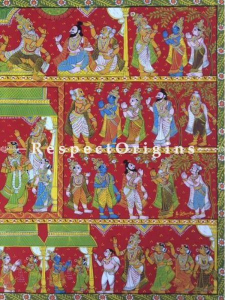 Cheriyal Painting of The Epic Ramayana; Folk Art Horizontal Painting in 30x45 in; Traditional Painting On Canvas