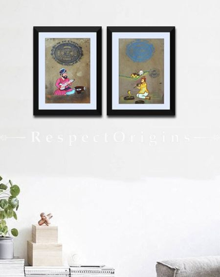 Buy The Charmer; Set of 2; Miniature Painting; Vertical; Traditional Rajasthani Wall Art at RespectOrigins.com
