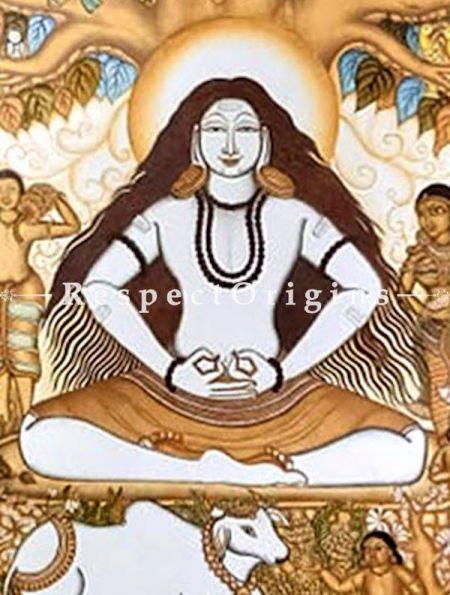 Lord Pashupatinath- Shiva- Painting Kerala Mural Art72x96; Canvas Vertical Painting