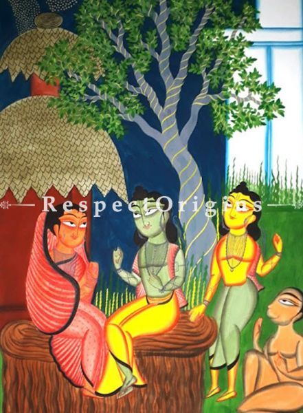 Buy Traditional Kalighat Painting of Ram Parivar On Paper in 23X30 inches;RespectOrigins