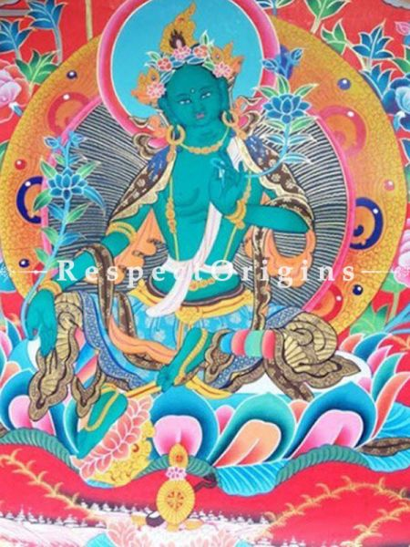 Vertical Thangka Painting of Green Tara -Dolma in 20X15 inches On Canvas; Buddhist Traditional Painting Wall Art; RespectOrigins