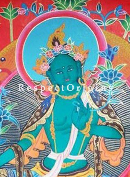 Green Tara Dolma Thangka Buddhist Traditional Painting Wall Art; 20x15 in On Canvas;