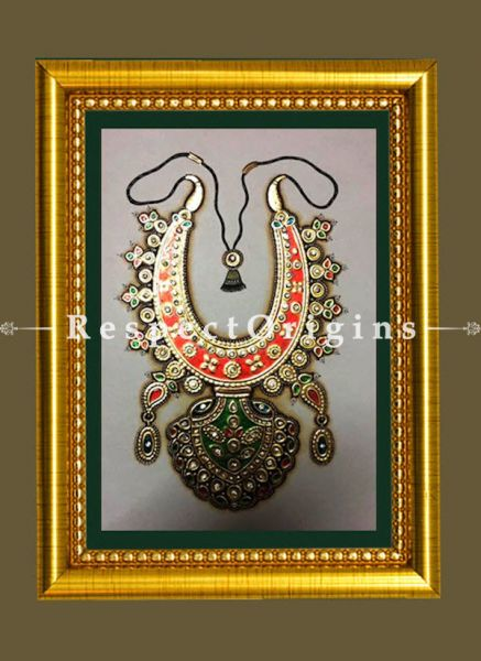 Fabulous Gem-Studded Marble Jewellery Miniature Paintings. Set of 4. 6x8 in; Vertical; Traditional Rajasthani Wall Art