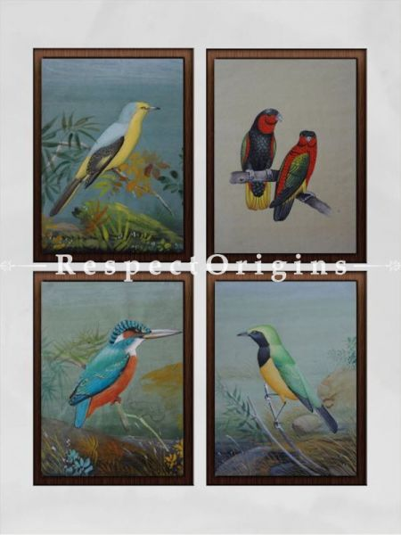 Buy Set of 4 Miniature Bird Paintings On Paper; 10X14 inches; Vertical; Traditional Rajasthani Wall Arts at RespectOrigins.com