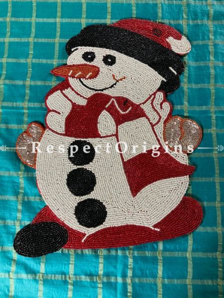 Snowman Christmas Beaded Table Place Mat or Wall Decor Gift; RespectOrigins.com