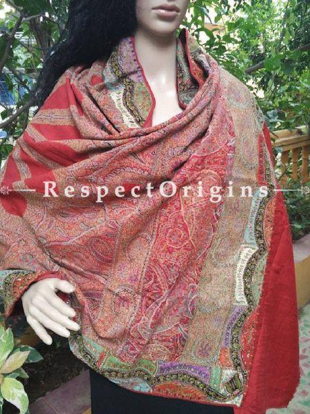 Buy Luxurious Red Jamavaar Kashmiri Ladies Shawl At RespectOriigns.com