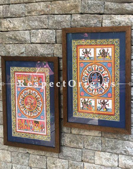 Buy Set of Two Pattachitra Painting of Goddess Durga Killing Mahishasura And Goddess Kali; 18X12 inches;RespectOrigins