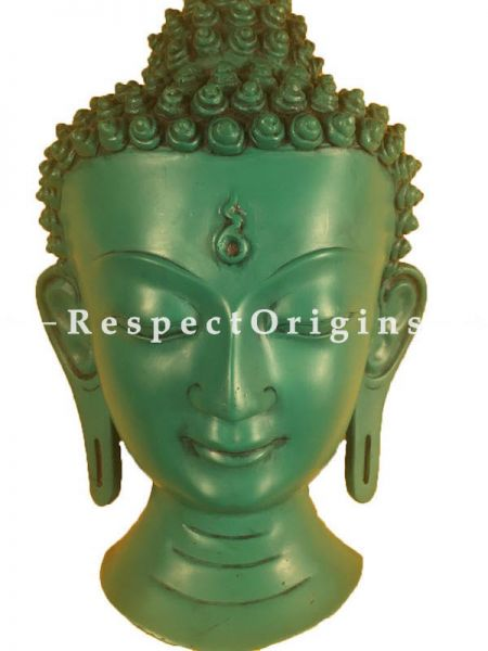 Buy Wall Mask; Wall Art; Handcrafted Green Lord Buddha; Marble; Green; Size 7x4x12 in At RespectOrigins.com