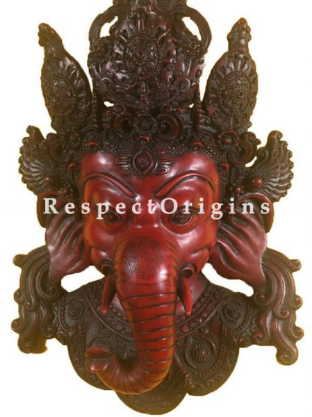 Buy Wall Mask; Wall Art; Handcrafted Lord Ganesha; Marble; Red; Size 10x5x16 in, Red At RespectOrigins.com