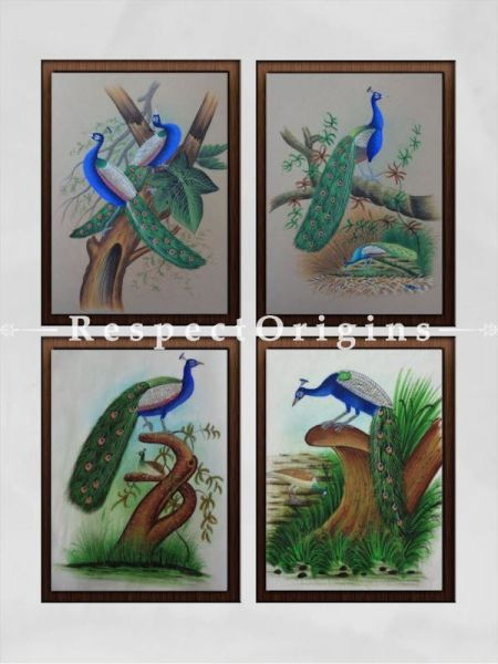 Buy Set of 4 Miniature Peacock Paintings On Paper; 10X14 inches; Vertical; Traditional Rajasthani Wall Art at RespectOrigins.com