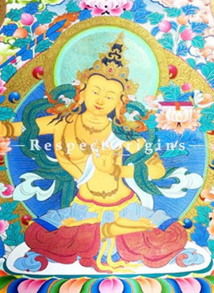 Manjusree Thangka Painting in 22x18 in On Canvas; Buddhist Traditional Painting Wall Art