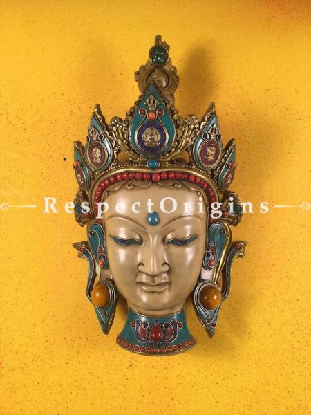 Buy Wall Mask; Wall Mask; Handcrafted Goddess Tara; Marble; Beige Base and multi color engraved stones, Size 9x5x15 in At RespectOrigins.com