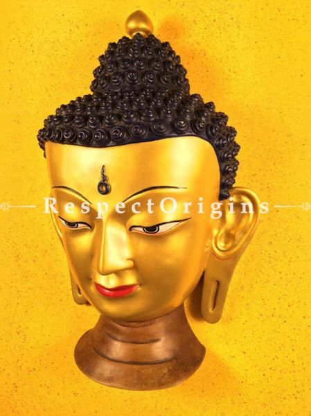Buy Wall Mask; Wall Art; Handcrafted Lord Buddha; Marble; Golden Base and brown engraved stones; Size 12x7x19 in At RespectOrigins.com