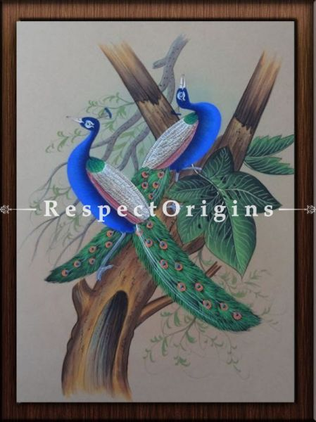 Set of 4 Miniature Peacock Paintings On Paper; 10x14 in; Vertical; Traditional Rajasthani Wall Art