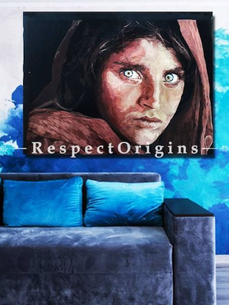 Buy Iconic Afghan Girl Thread Painting; Size 30x36 in. At RespectOriigns.com