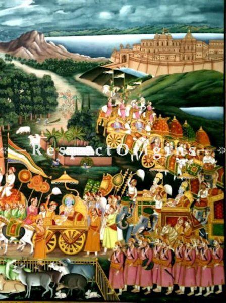 Masterful Original Rajasthani Pichwai Painting of Procession of Neminathji; 46x61 in
