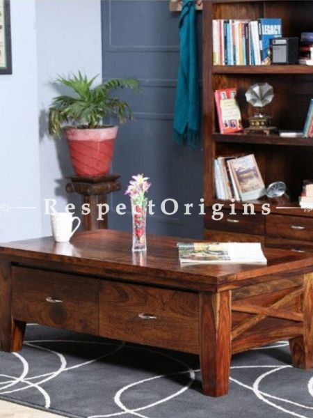 Buy Phoebe Rustic Handcrafted Wooden Coffee Table Storage Drawers  At RespectOrigins.com