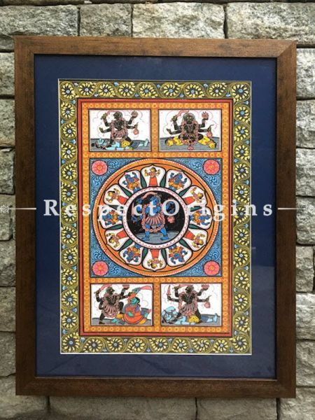 Set of Two Pattachitra Painting On Paper of Goddess Durga Killing Mahishasura and Goddess Kali; 18x12 in
