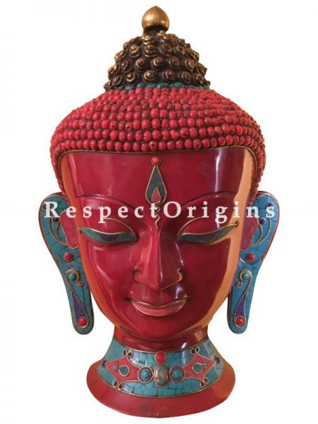 Buy Wall Mask; Wall Art; Handcrafted Calm Lord Buddha; Marble; Red Base and multi color engraved stones Size 12x7x19 in At RespectOrigins.com
