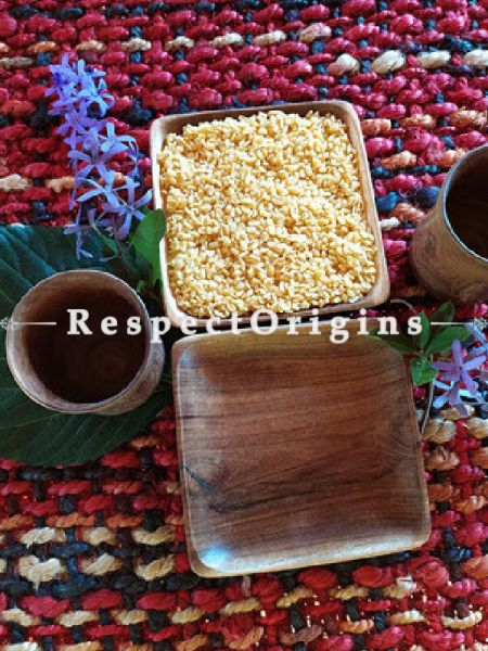 Set of 2 Wooden Square Platter with 2 Wooden Glasses; Handcrafted; RespectOrigins