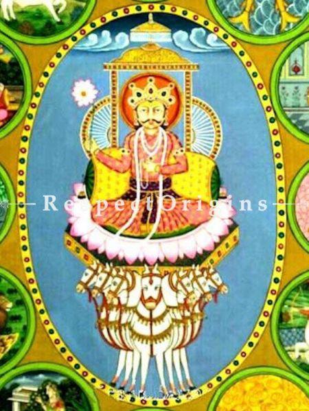 The Zodiac; Aboriginal Pichwai Folk Painting in 37x46 in