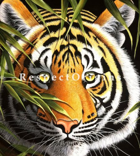 Buy Ferocious Tiger; Horizontal Acrylic Painting On Canvas 60X36 inches at RespectOrigins