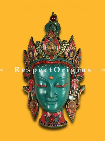 Buy Handcrafted Wall Mask; Wall Art; Goddess Tara; Marble; Blue Base and multi color engraved stones Size 9x6x15 in At RespectOrigins.com
