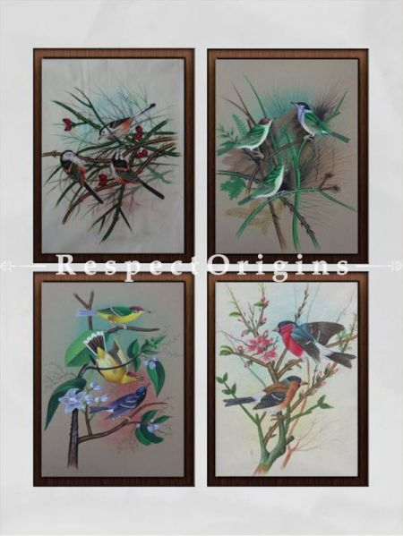 Set of 4 Miniature Bird Paintings On Paper; 10X14 inches; Vertical; Traditional Rajasthani Wall Art