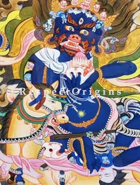Palden Lhamo Thangka Painting in 22x18 in On Canvas; Buddhist Traditional Painting Wall Art