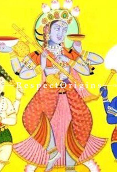 Goddess Kali Moksha- giving and Bhairava; Mystical Pichwai Folk Painting; 48x66 in