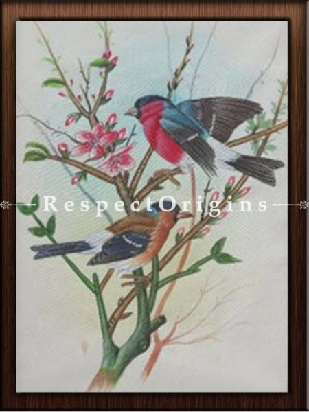 Set of 4 Miniature Bird Paintings On Paper; 10x14 in; Vertical; Traditional Rajasthani Wall Art