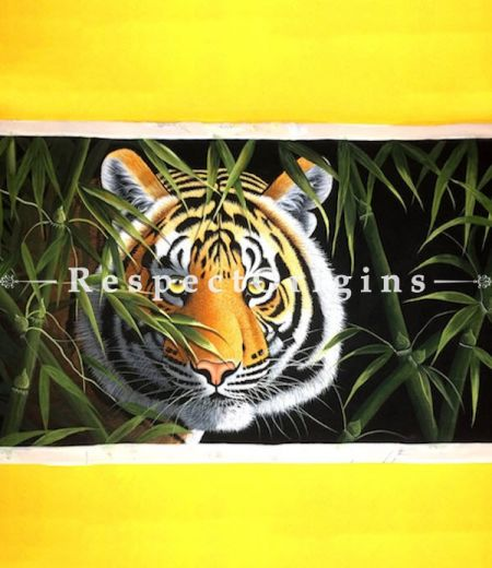 Ferocious Tiger; Horizontal Acrylic Painting On Canvas 60x36 in
