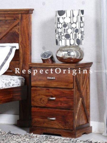 Buy 3 Drawer Side Table; Wood At RespectOrigins.com
