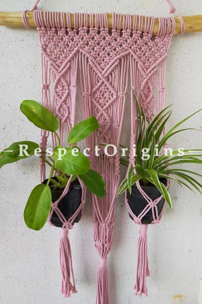 Buy Macrame Hanging Planter With 3 Pot Holder, Pink At RespectOrigins.com