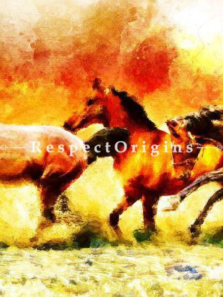 Running Horses; Canvas Art Print, Inks On Canvas - 37In x 21In