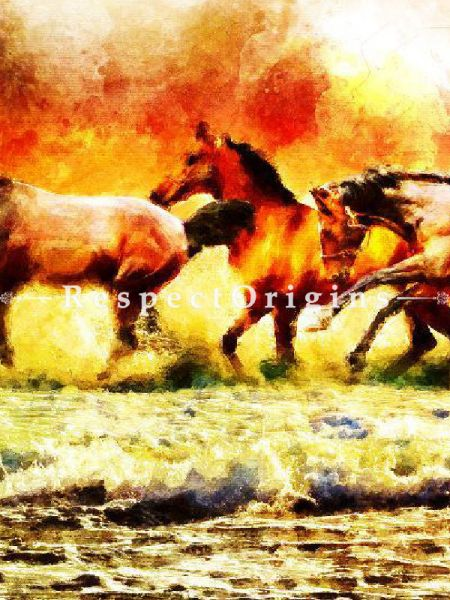 3 Running Horses - Canvas Art Print, Inks on Canvas - 37in x 21in |Buy 3 Running Horses - Canvas Art Print, Inks on Canvas - 37in x 21in  Online|RespectOrigins