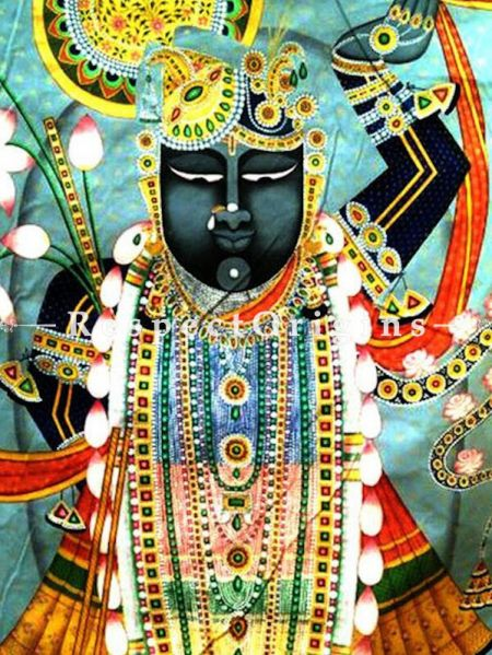 The Royal Feast For Krishna; Raj Bhog; Collector's Rajasthani Pichwai Folk Painting in 29x40 in