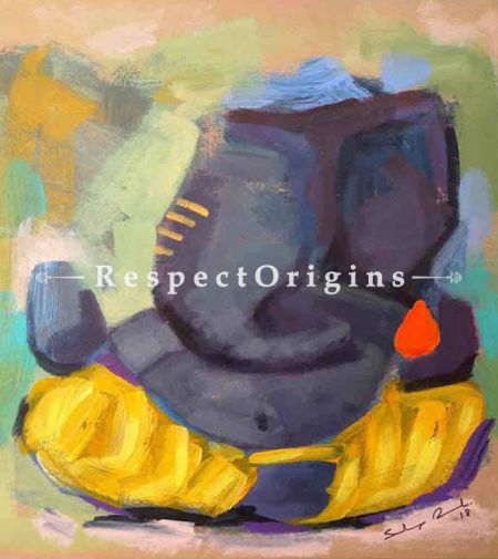 Yashaskaram; Ganesha Painting; Acrylic Color On Paper; 8x8 in