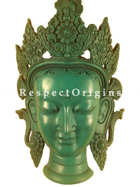 Buy Magnificent Wall Mask; Wall Art; Handcrafted Goddess Tara; Marble; Green, Size 7x4x12 in At RespectOrigins.com