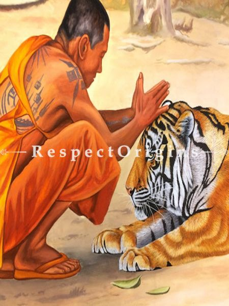 Buy Tiger with Buddhist Monk Painting; Acrylic Painting On Canvas; Wall Art; 48X36 inches at RespectOrigins