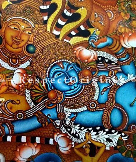 Reclining Vishnu Kerala Mural Painting; 36 X 58 inches; Chuvarchithram;Respet origins