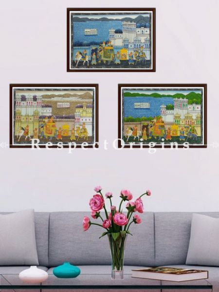 Buy Set of 3 Miniature Paintings of King's Procession On Silk; 10X12 inches ; Horizontal; Traditional Rajasthani Wall Art at RespectOrigins.com