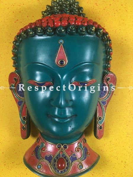 Buy Wall Mask; Wall Art; Handcrafted Blue Lord Buddha; Marble; Blue Base and multi color engraved stones Size 8x5x12 in At RespectOrigins.com