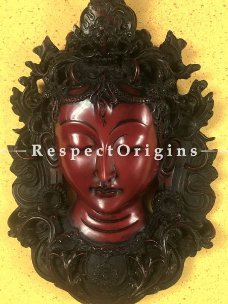 Buy Wall Mask; Wall Art; Handcrafted Lord Shiva; Marble; Size 8x3x12 in, Red At RespectOrigins.com
