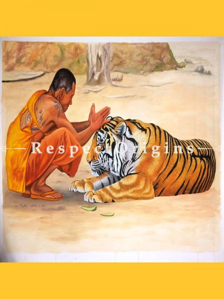 Tiger with Buddhist Monk Painting; Acrylic Painting On Canvas; Wall Art; 48x36 in