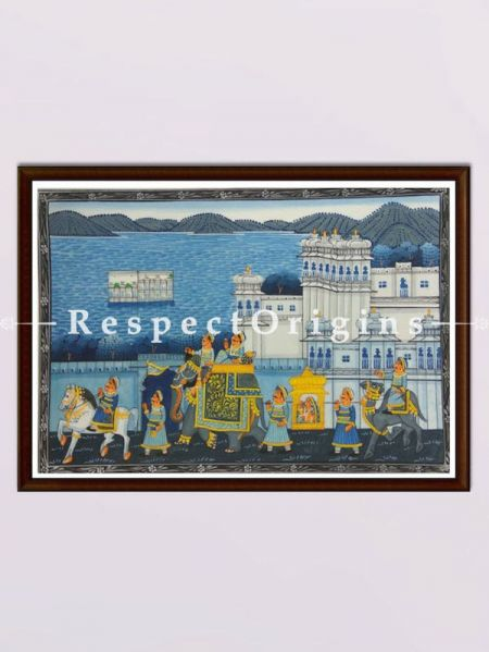 Set of 3 Miniature Paintings of King's Procession On Silk; 10x12 in; Horizontal; Traditional Rajasthani Wall Art