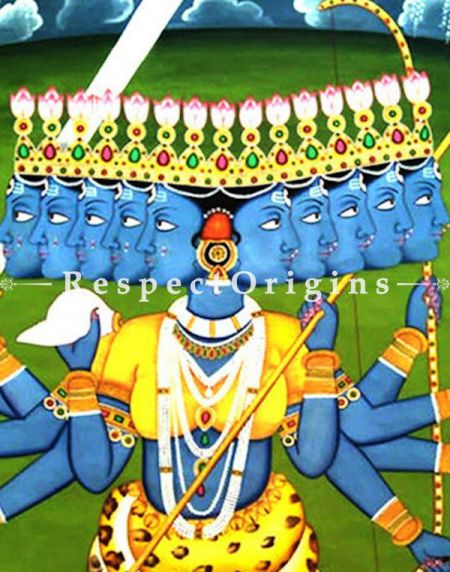 Traditional Pichwai Painting of Kali Maa; 45x64 in