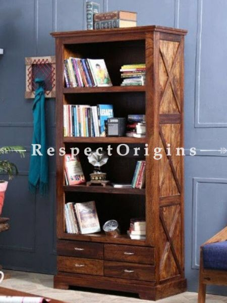 Buy Phoebe Rustic Handcrafted Wooden Bookcase with 4 Sections At RespectOrigins.com